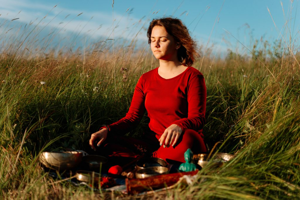 women relaxed state after sound healing